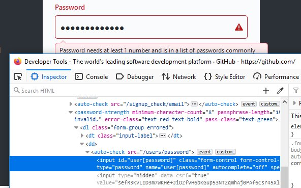 Unmasking a password with Inspect Element